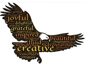 "Word-art in the shape of an eagle in flight, with words like ""inspired"" and ""adventurous."""