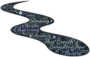 "Word-art that says ""This Breath"" with other words like ""observing"" and ""noticing."""