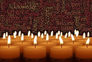 """Word-art with candles and words like """"Allow"""" and """"Acknowledge."""""""