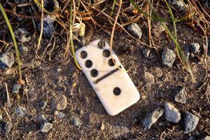 Domino in sand with pebbles.