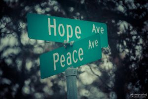 Street signs for Hope Ave. and Peace Ave.