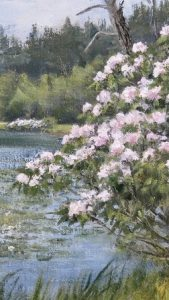 Painting of spring blossoms on an overcast day with a lake in the background.