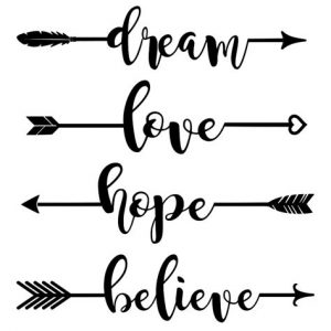 "Weathervane arrows with the words ""dream"" ""love"" ""hope"" and ""believe."""