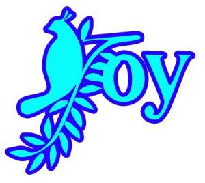 """Word-art that says """"Joy."""""""