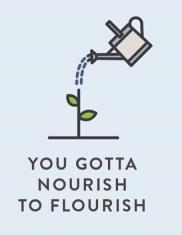 "Word-art that says ""You gotta nourish to flourish."""
