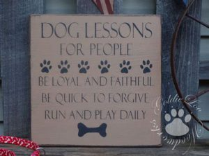 """Word-art with """"dog lessons for people."""""""
