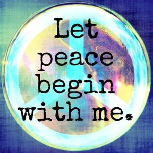 """Word-art that says """"Let peace begin with me."""""""