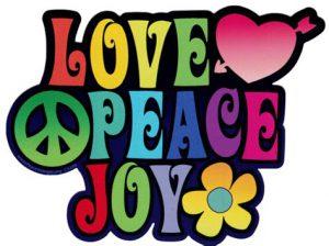 "Word-art that says ""Love, peace, joy."""