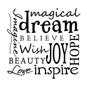 """Word-art with a cloud of words like """"magical"""" and """"inspire."""""""