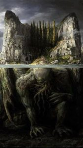 Image of a stone troll crouched on the bottom of a lake.