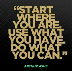 """Word-art that says """"Start where you are. Use what you have. Do what you can."""" -Arthur Ashe"""